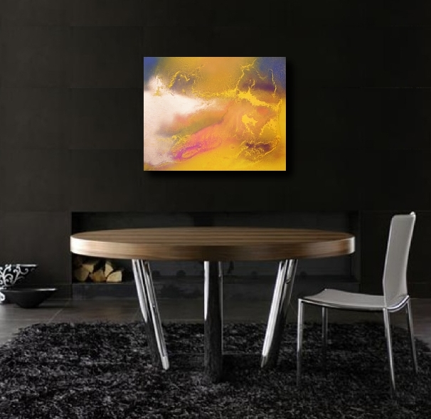 An amber, gold and mustard painting. colorful abstract art