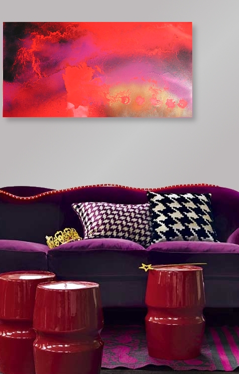 A magenta, saffron and lemon painting. contemporary wall art