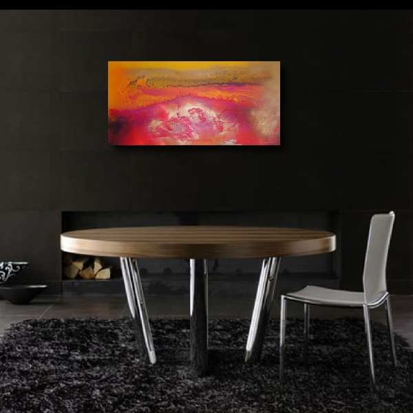 A bronze, magenta and crimson painting. colorful abstract art