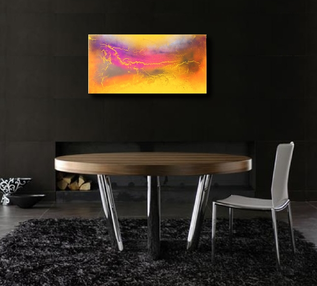 A yellow, amber and saffron painting. art painting modern abstract