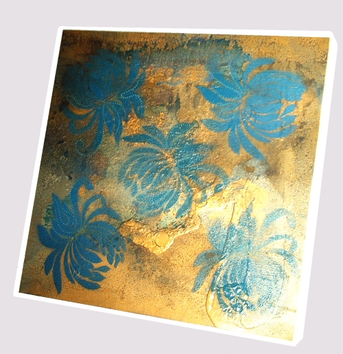 A blue, sapphire and gold painting. large abstract painting