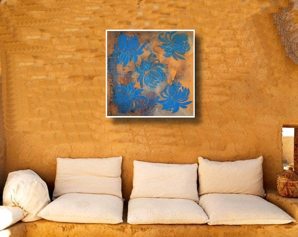 A cyan, blue and powder blue painting. buy art