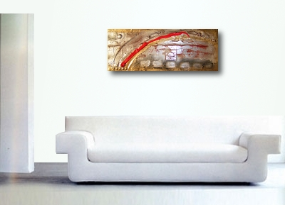 A platinum, gold and red painting. abstract canvas painting