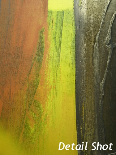 A yellow, gold and black painting. original abstract painting