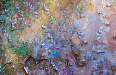 A mustard, cobalt and purple painting. original abstract art painting