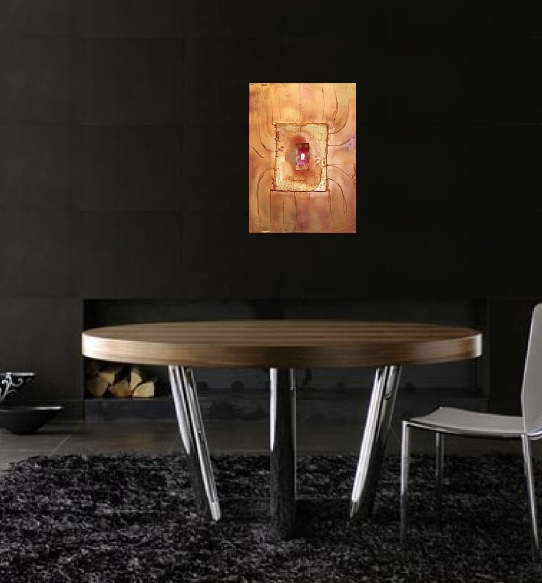 A crimson, scarlet and gold painting. buy art work online