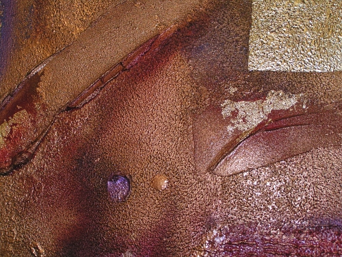 A brass, crimson and burnt umber painting. buy art work online
