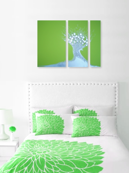 A mint, green and lime painting. modern painting