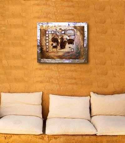 A gold, rust and silver painting. buy abstract art
