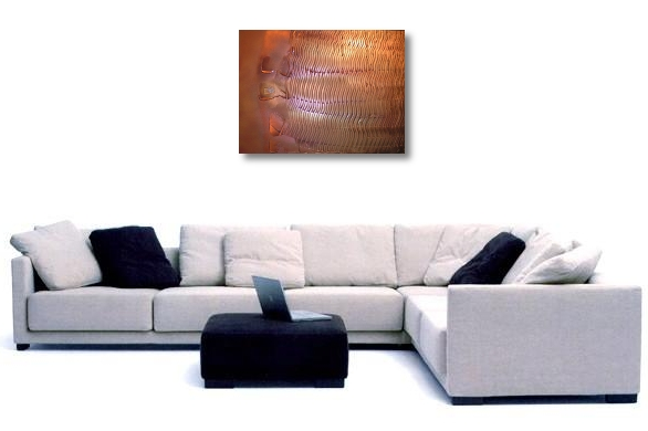 A brass, rust and copper painting. original abstract painting