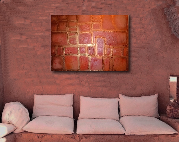 An amber, gold and orange painting. buy contemporary art