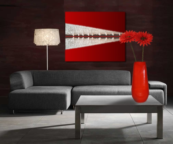A silver, crimson and platinum painting. abstract painting for sale