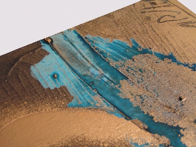 A bronze, cyan and copper painting. abstract art for sale