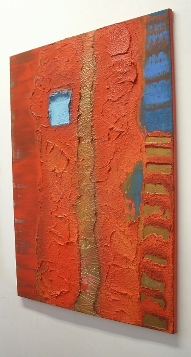 A blue, orange and red painting. buy art work online