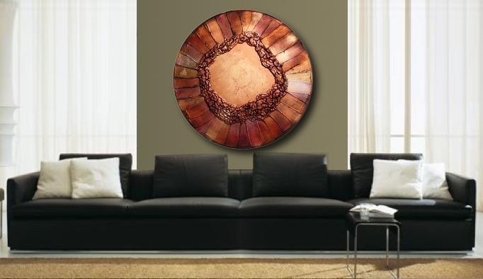A brass, bronze and gold painting. large abstract painting
