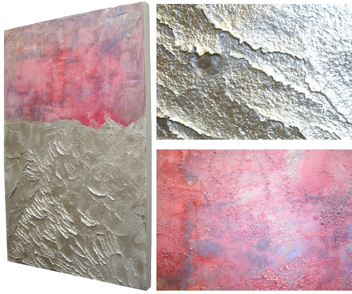 Pink Silver Wall Art Abstract Original Landscape Painting 24 X