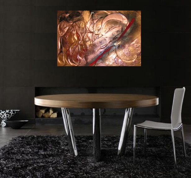 A gold, black and crimson painting. buy contemporary art