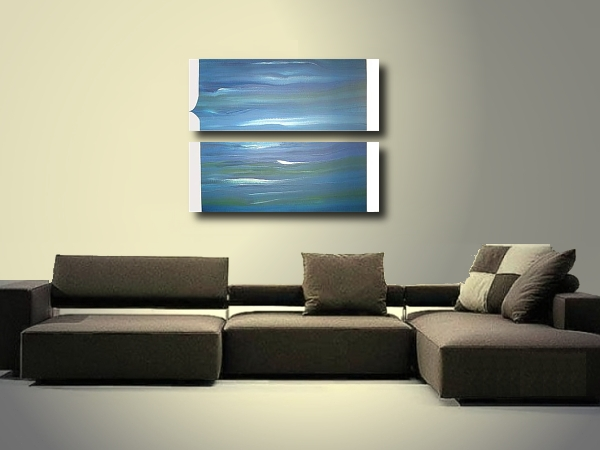 A blue, aqua and cyan painting. original abstract painting