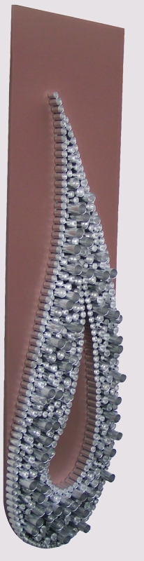 A platinum, silver and puce wall sculpture. buy art work online