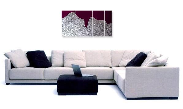 A maroon, chestnut and grey wall sculpture. abstract expressionist painting