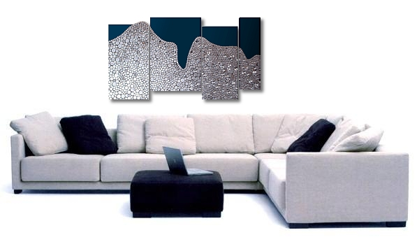 An indigo, platinum and blue wall sculpture. abstract canvas painting