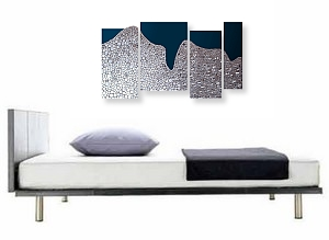 A platinum, blue and indigo wall sculpture. modern art paintings and posters for sale