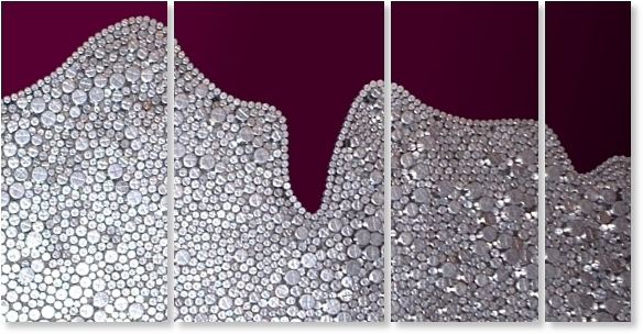 A burgundy, chestnut, crimson, grey, magenta, maroon, platinum, red, scarlet and silver wall sculpture