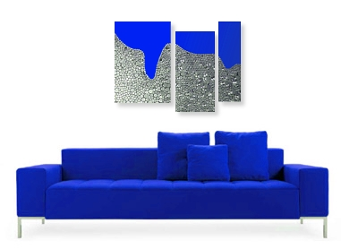 A blue, cyan, grey, indigo, sapphire, silver and ultramarine wall sculpture with some aqua