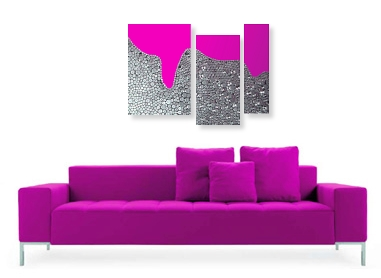A fuchsia, grey, magenta, maroon, pink, platinum and silver wall sculpture