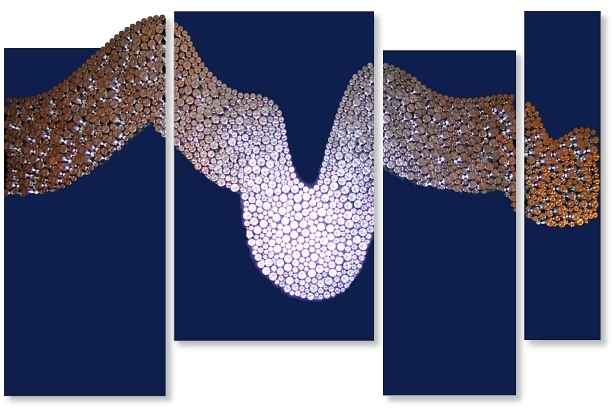 A blue, cobalt, cyan, grey, indigo, platinum, sapphire, silver and ultramarine wall sculpture