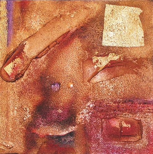 A brass, bronze, burgundy, burnt umber, chestnut, crimson, gold, red and rust painting