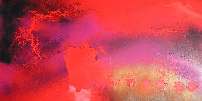 A crimson, fuchsia, magenta, purple, red, scarlet and violet painting