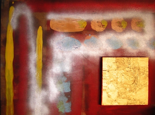 A crimson, gold, magenta, red, scarlet and yellow painting