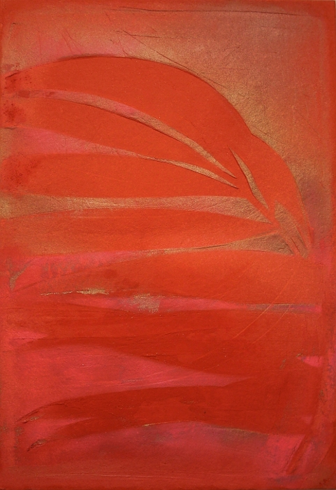 A gold, pink and red painting