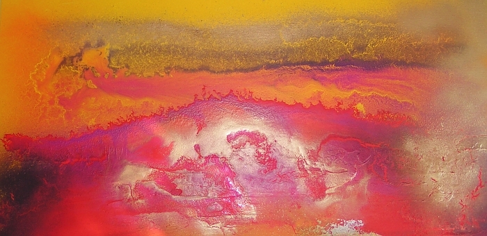 An amber, lemon, magenta, mustard, saffron and yellow painting