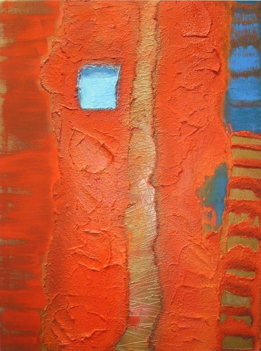 A blue, orange and red painting