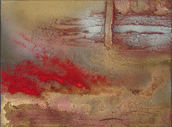 A brass, bronze, copper, crimson, gold, magenta, red, rust and scarlet painting