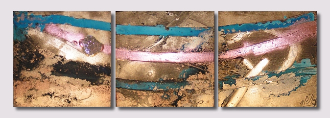 A black, bronze, copper, cyan, gold, powder blue, teal and turquoise painting