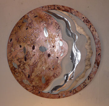 A bronze, copper and silver painting
