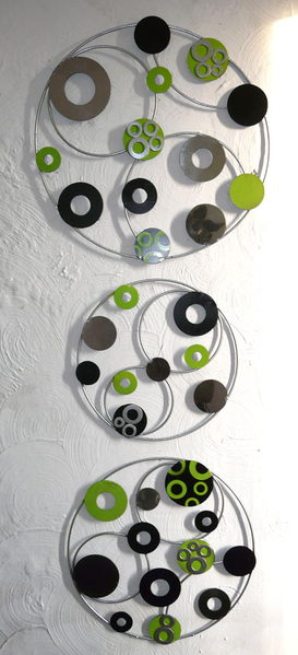 A black, lime and silver painting