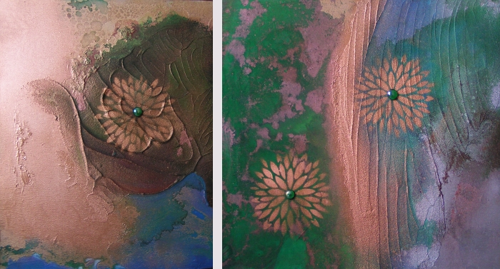 A copper, emerald, gold, green, jade and teal painting