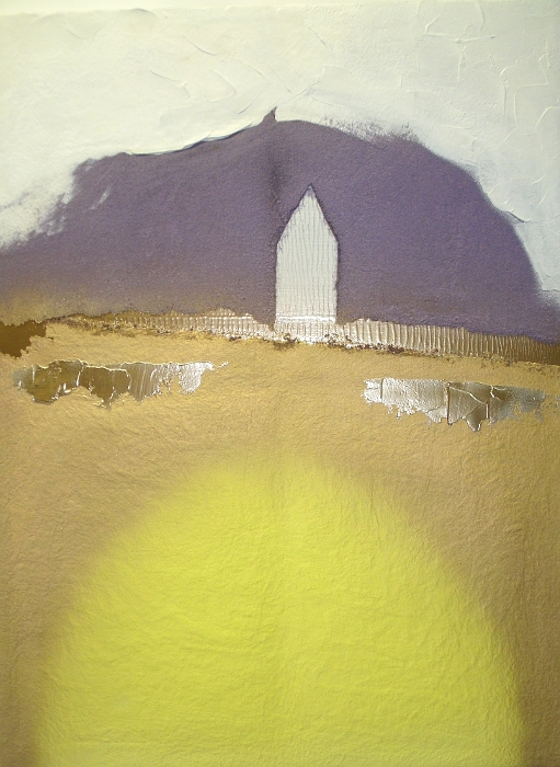 A lemon, mustard, purple, white and yellow painting